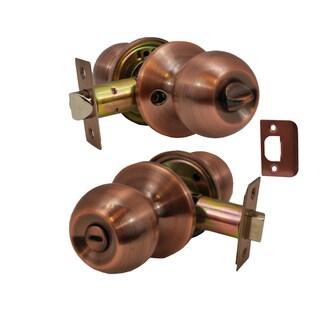 Chronos Privacy Antique Copper Finish Door Lever Lock Set Knob Handle Set
