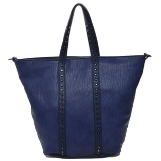 Mechaly 'Holly' Blue Vegan Leather Tote Handbag