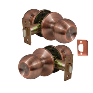 Chronos Passage Antique Copper Finish Door Lever Lock Set Knob Handle Set