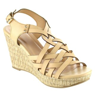 Beston Criss Cross Wedge Sandals