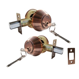 Deadbolt Door Lock Set with Double Cylinder Finish: Antique Copper