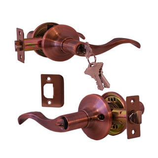Prelude Antique Copper Finish Entry Lever Door Lock with Knob Handle Lockset