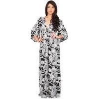 Koh Koh Women's Print 3/4 Sleeve Kimono Maxi Dress
