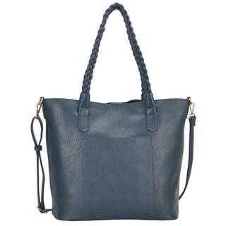 Mechaly 'Evie' Teal Vegan Leather Tote Handbag