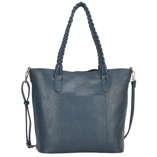 Mechaly 'Evie' Teal Vegan Leather Tote Handbag