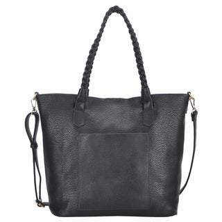 Mechaly 'Evie' Black Vegan Leather Tote Handbag