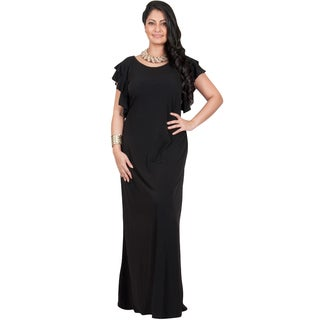KOH KOH Women's Plus Size Cocktail Maxi Dress with Round Neck and Ruffled Cap Sleeves