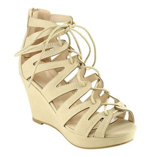 Beston Gladiator Lace-up Wedge Sandals