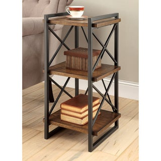 Furniture of America Collins Industrial Medium Weathered Oak 3-tier End Table