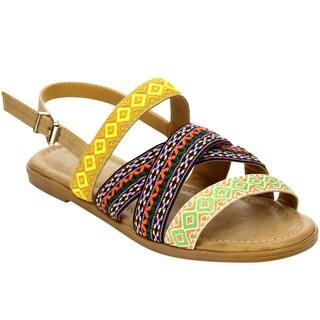 Beston Women's Geometric Print Flat Sandals