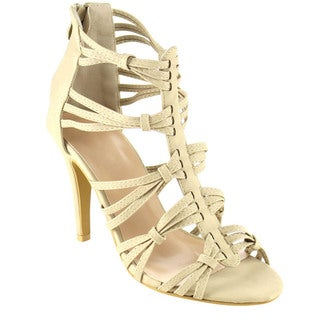 Top Moda CD37 Women's Stiletto Heel Strappy Caged Dress Sandals