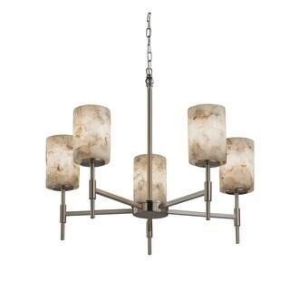 Justice Design Group Alabaster Rocks Union 5-light Brushed Nickel Chandelier, Cylinder - Flat Rim Shade