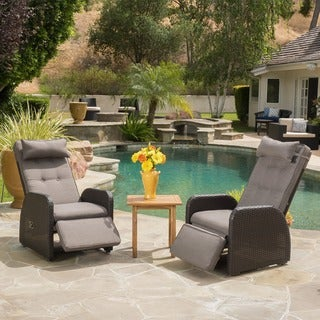 Ostia Wicker Recliner with Cushion (Set of 2) by Christopher Knight Home