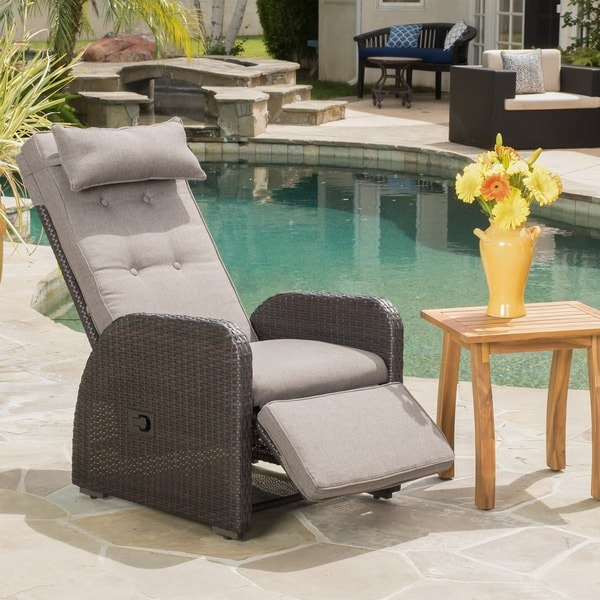 Ostia Wicker Recliner with Cushion by Christopher Knight Home : rattan reclining garden chairs - islam-shia.org