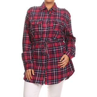 JED Women's Plus Size Long Sleeve Red Plaid Button Down Tunic Shirt
