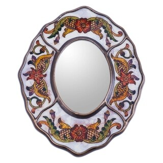 Reverse Painted Glass 'White Colonial Wreath' Plywood Framed Mirror (Peru)