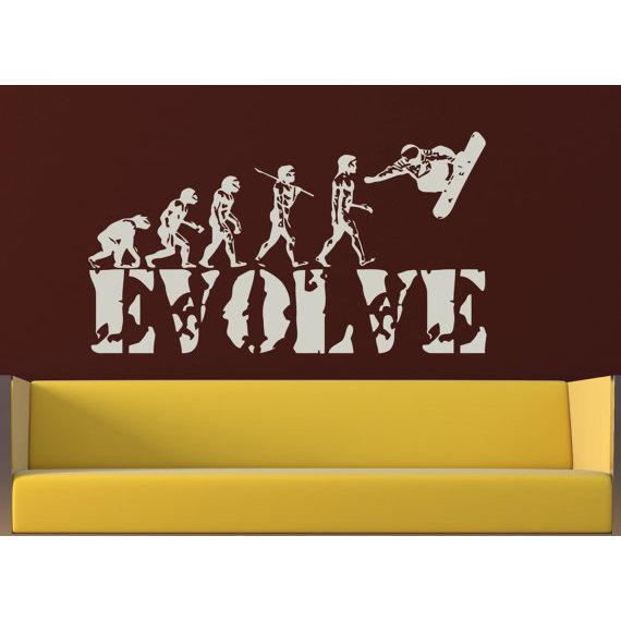 Shop Evolution evolutionary chain snowboard Wall Art Sticker Decal ...