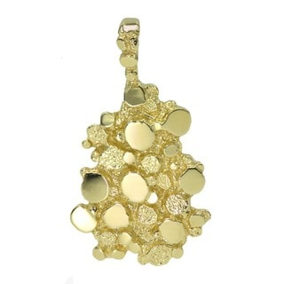 Men's 14k Yellow Gold Nugget Pendant Charm