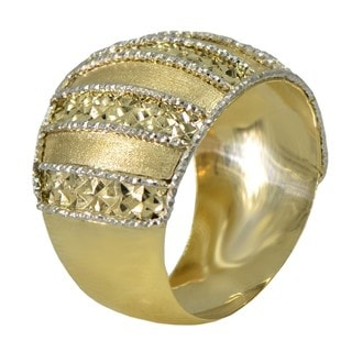 14k Two-tone Gold Diamond-cut Stripe Ring (Size 7)