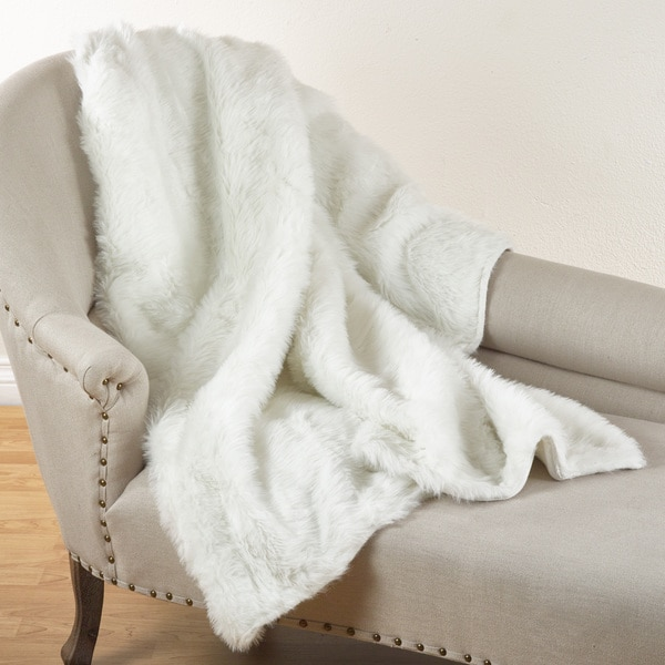 Juneau Collection White Faux Fur Throw Blanket