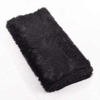 Juneau Collection White Faux Fur Throw Blanket