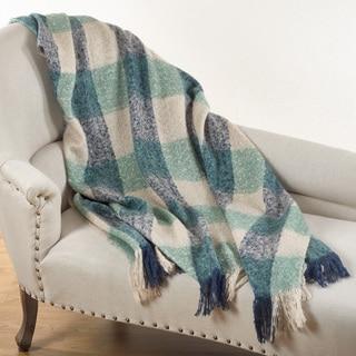 Faux Mohair Checkered Throw Blanket