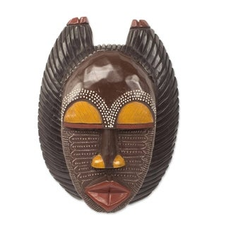Handcrafted Sese Wood 'A Good Mother' Mask (Ghana)