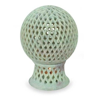 Handcrafted Soapstone 'Lattice Globe' Candleholder (India)