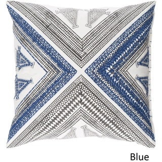 Decorative Lizze 18-inch Feather Down/Polyester Filled Throw Pillow (Polyester - White/Blue/Grey)