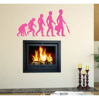 Evolution evolutionary chain man Wall Art Sticker Decal Pink