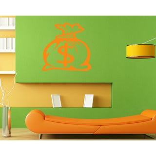 Bag with money Wall Art Sticker Decal Orange