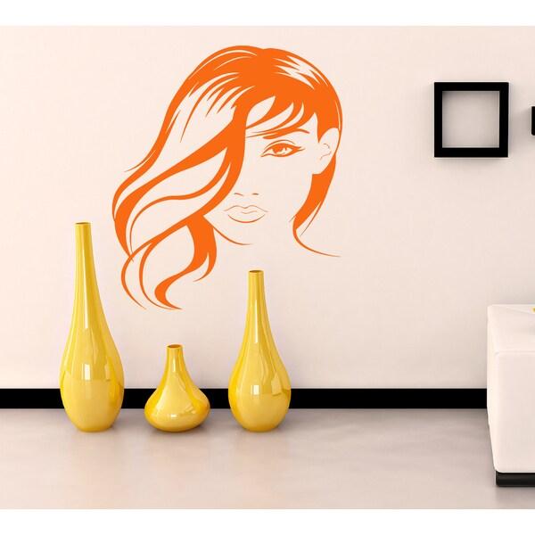 Beautiful girl beauty salon Wall Art Sticker Decal Orange 18144959