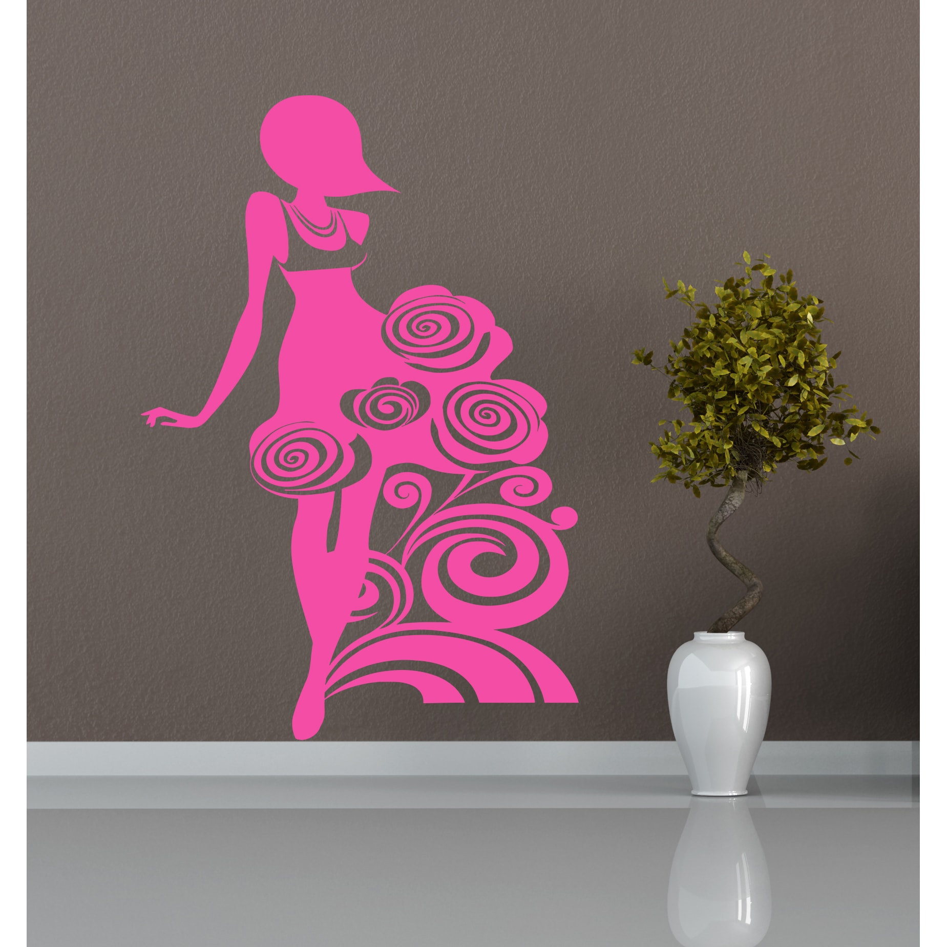 Beautiful Girl Lady Flowers Wall Art Sticker Decal Pink 724999536158 - Beautiful-wall-stickers-to-decorate-your-house