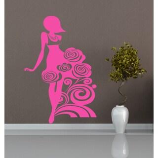 Beautiful girl lady flowers Wall Art Sticker Decal Pink