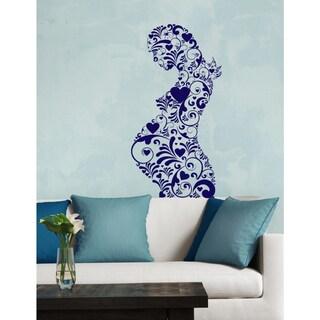 Pregnant woman flowers heart Wall Art Sticker Decal Blue