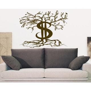 Money Tree money dollars clasp Wall Art Sticker Decal Brown