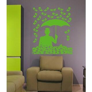 Money rain of money dollars Wall Art Sticker Decal Green