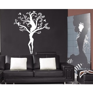 Beautiful girl tree leaves heart Wall Art Sticker Decal White