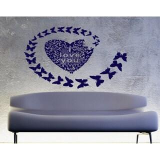 Love heart butterfly I love you Wall Art Sticker Decal Blue
