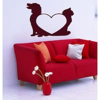 Animals love dog and cat Wall Art Sticker Decal Red