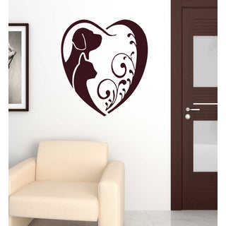 Affection love dog cat pets Animals Wall Art Sticker Decal Red