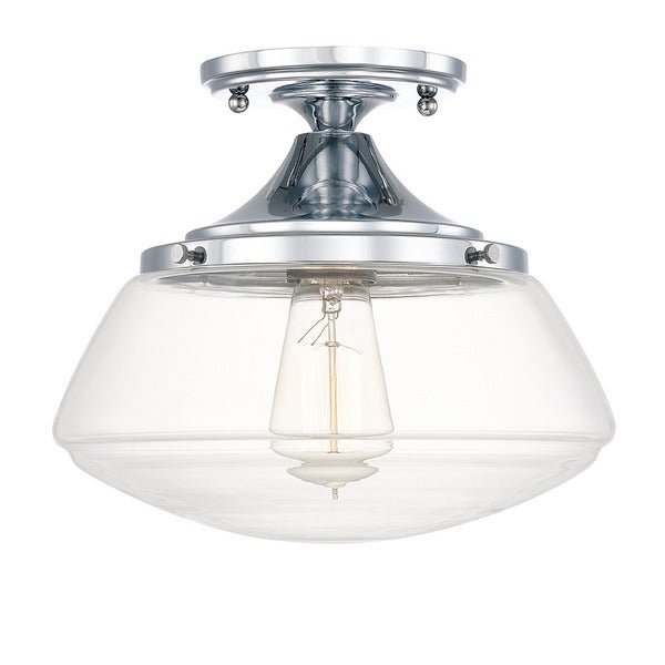 Capital lighting schoolhouse collection 1 light chrome flush mount free shipping today Home decorators collection 4 light chrome flush mount