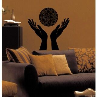Hands palm mosaic ball puzzles Wall Art Sticker Decal