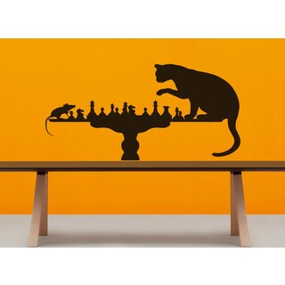 Cat and mouse chess game play Wall Art Sticker Decal Brown