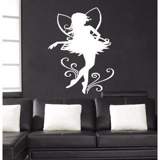 Fairy elf magic flowers wings Wall Art Sticker Decal White