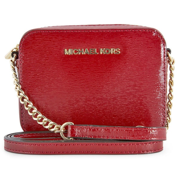 3714f39f0fad Michael Kors Jet Set Travel Patent Leather Crossbody Handbag in Scarlet Red