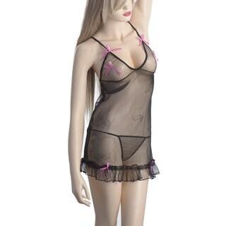 Zodaca Women's Lingerie Black Leather with Pink Bows Bikini Nightwear