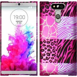 Insten Hot Pink/ White Exotic Skins Hard Snap-on Rubberized Matte Case Cover For LG G5