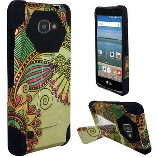 Insten Yellow/ Black Antique Flower Hard PC/ Silicone Dual Layer Hybrid Case Cover with Stand For LG K4/ Optimus Zone 3/ Spree