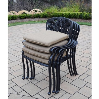 Stackable Welded Cast Aluminum Sunbrella Dining Chair (Set of 4)